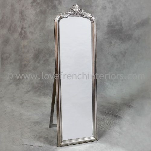 Antique Silver Tall Slim Dressing Mirror